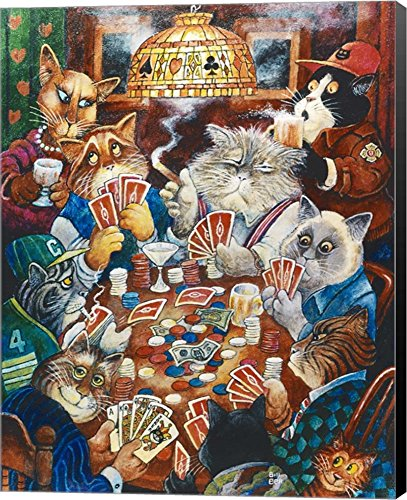 Poker Cats by Bill Bell Canvas Art Wall Picture, Museum Wrapped with Black Sides, 16 x 20 inches by Great Art Now