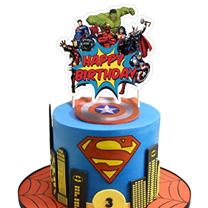 Wondrous Superhero Cake Topper Birthday Cake Cupcake Decorations Party Personalised Birthday Cards Veneteletsinfo