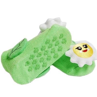 2 Paires Chaussettes bébés Coton Anti-dérapage Chaussettes 0-12 mois(fleur)