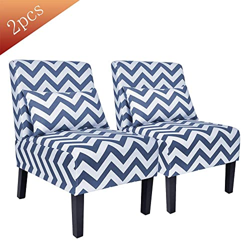 Contemporary Upholstered Armless Accent Chair with Lumbar Pillow, Wood Leg Living Room Chair Set of 2 Blue Chevron