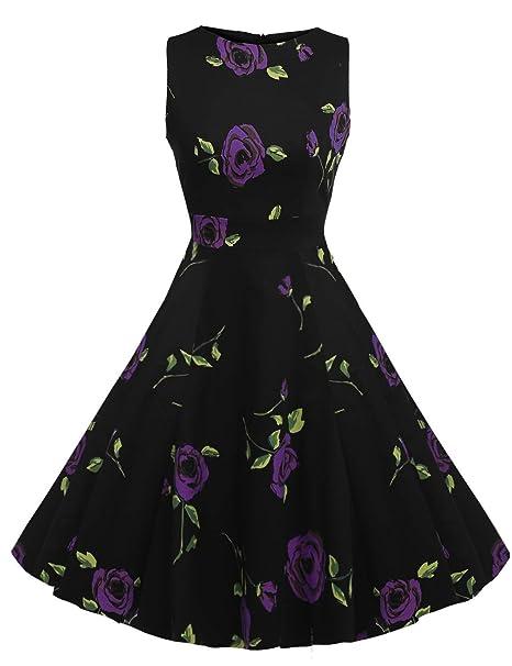 Vestido de flores Chez BoBos Mujer 1950s Vintage plisado línea delgada morado Rosa Púrpura