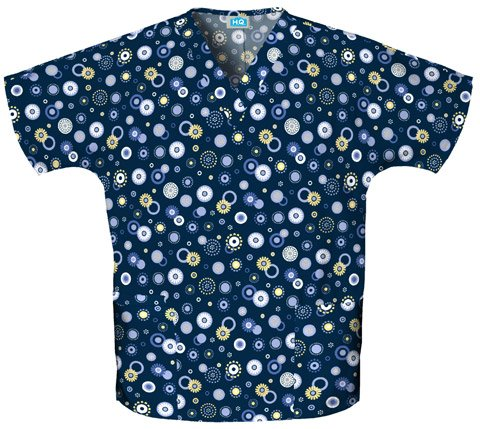 (Cherokee Scrub H.Q Women's V-Neck 2 Pocket Dots Wonderful Print Scrub Top Large Print)