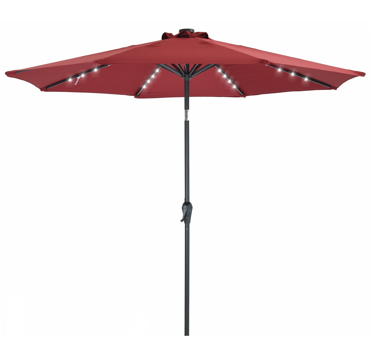 Patio Watcher 9 FT Patio LED Umbrella Solar Powered Outdoor Umbrella, 40 LED with 2 Charge Modes(Solar and Adaptor),250GSM Fabric with Push Button Tilt and Crank,Red