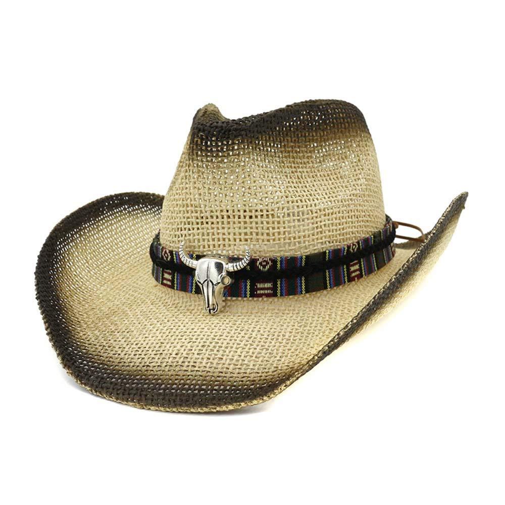 Gobling Fashion Handmade Women's Men's Straw Cowboy Hat Fashion Jazz Hat with Bull Decreation (Color : 1, Size : 56-58CM)