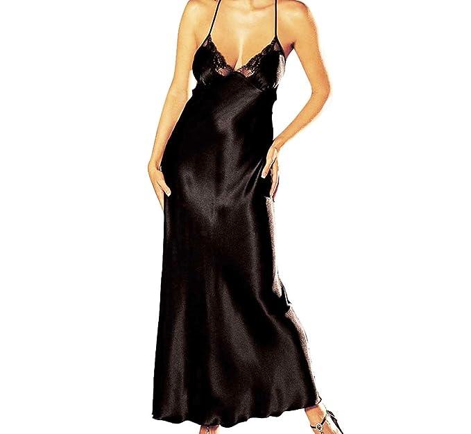 82467fb85 ELEGANI Long-Satin-Nightgown Night-Maxi Dress Chemise-Lace Babydoll- Sleepwear (Black) at Amazon Women s Clothing store