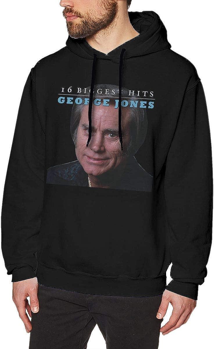LANDONL Mens George Jones 16 Biggest Hits Hoodies Sweatshirt Black