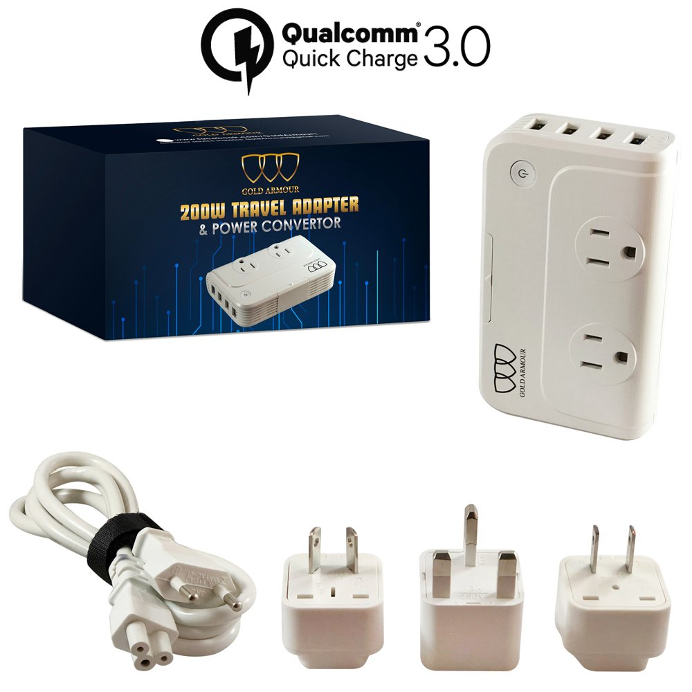 Travel Adapter and Converter: Universal Travel Adapter Step Down 220V to 110V Voltage Converter with 6.2A 4-Port USB and UK/AU/US/EU Worldwide Plug Adapter International Travel Adapter (White)