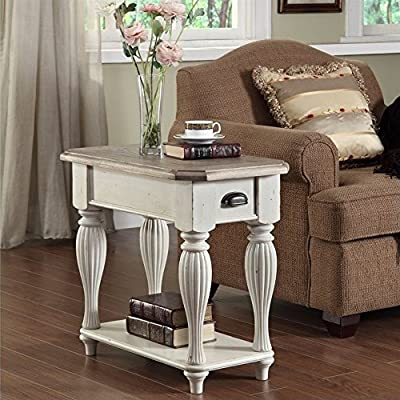 """Riverside Furniture Coventry Two Tone Chairside Table, 15"""" - One drawer with dovetail Construction and a wood on wood guide Fixed bottom shelf Medium and heavy distress level - living-room-furniture, living-room, end-tables - 61d4asZ8VHL. SS400  -"""