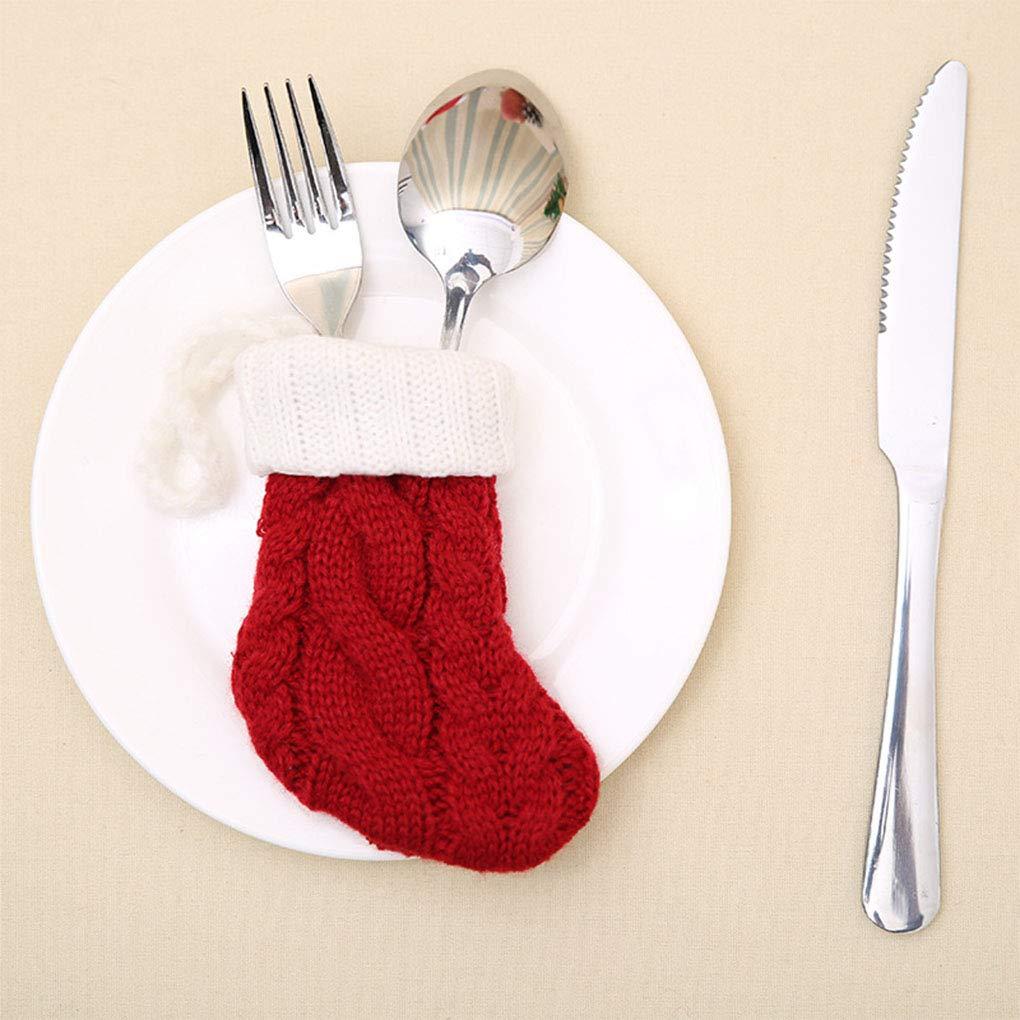 MUANI Tejer Calcetines de Navidad Cubiertos Tenedor Cuchara Cubierta ...