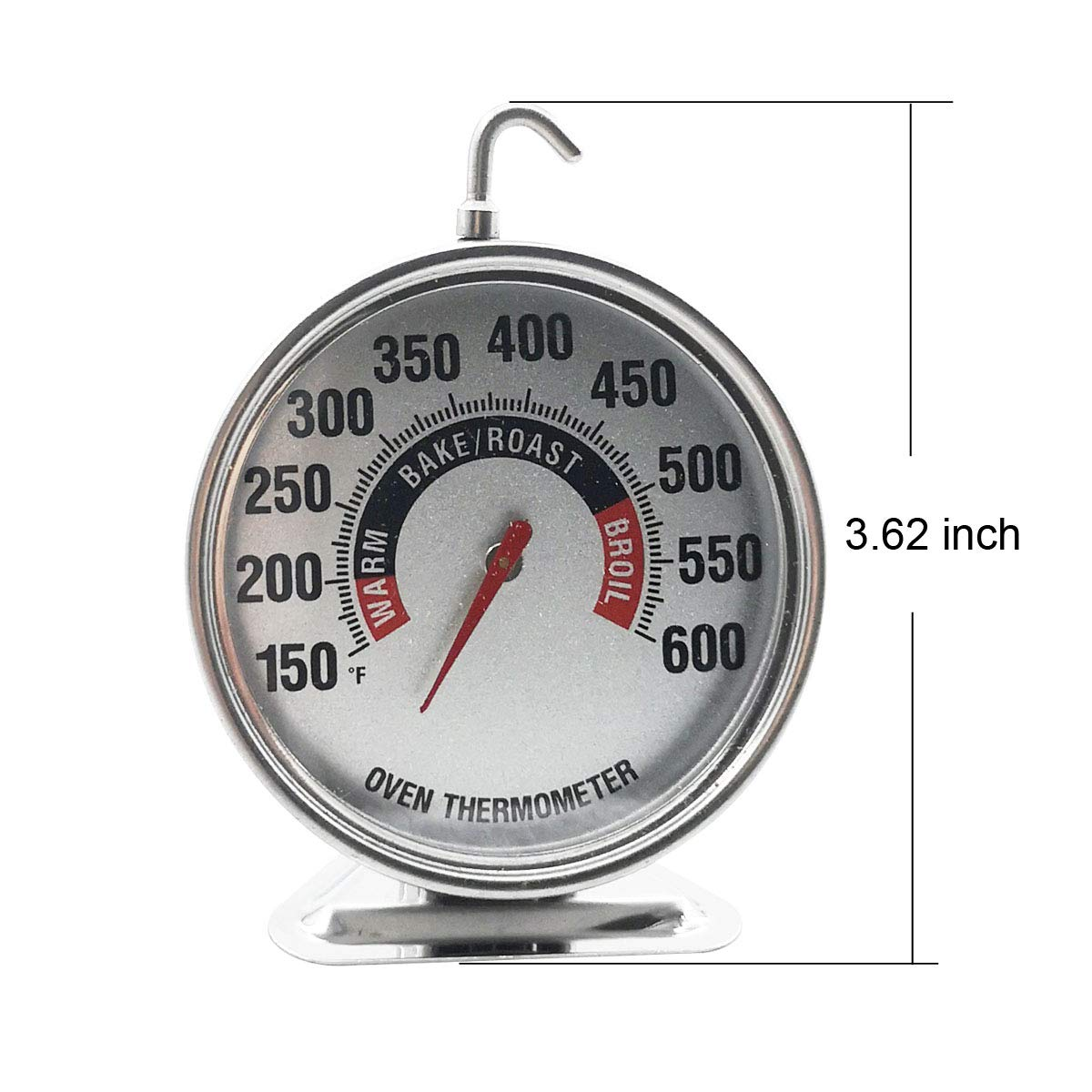 Extra Large Dial Oven Thermometer Instant Read with Hook and Panel Base Hang or Stand in Oven//Grill for Cooking or BBQ