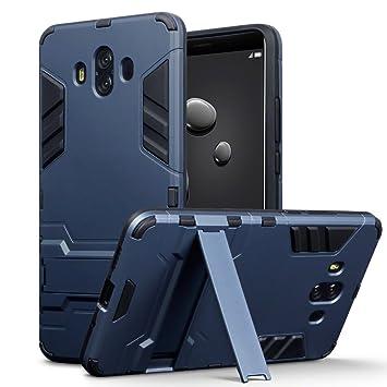 Huawei Mate 10 Carcasa Híbrida de Silicona + Polycarbonato Doble Resistencia, y soporte para mesa - Azul oscuro