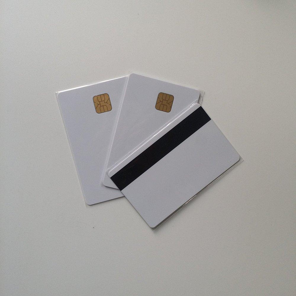 50PCS banda magnetica di contatto IC card con 4428/chip Blank inkjet PVC card