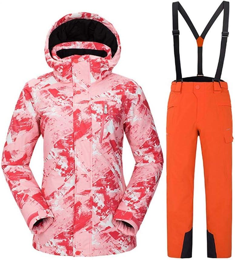 アウトドアスキースーツセット女性の防風性の暖かい通気性のスキースーツセット (色 : C8, サイズ : M)