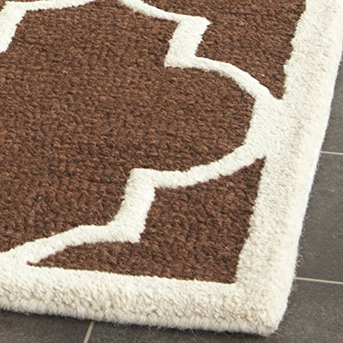Safavieh Cambridge Collection CAM134H Handcrafted Moroccan Geometric Dark Brown and Ivory Premium Wool Area Rug (3' x 5') - Dark Brown Wool Rug
