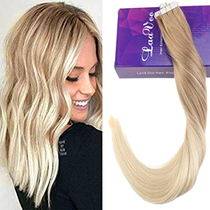 LaaVoo 22pulgada/55cm Glue in Extensiones de Pelo Natural Largo 20Pcs Individual Seamless Tape Extensions