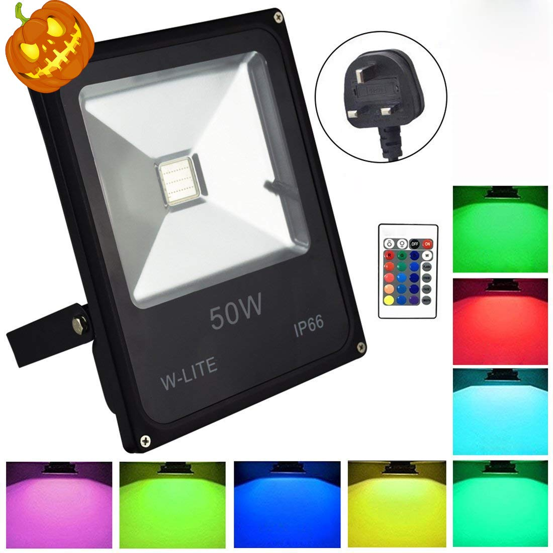 Coloured Changing Floodlight for Halloween Remote Control,Equate to 200W Halogen light Dimmable 16 Colour /& 4 Modes Waterproof IP66 Party. 50W RGB Led Floodlight Outdoor No Plug