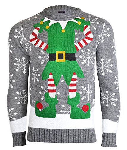 Noroze Mens Womens Unisex Premium Novelty Knitted Christmas Sweater Elf Jumpers (Grey, X-Large)