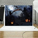 STRIR Telón de Fondo de Fotografía Impresión Digital Halloween Calabaza Cementerio Murciélago Patrón para Foto Estudio