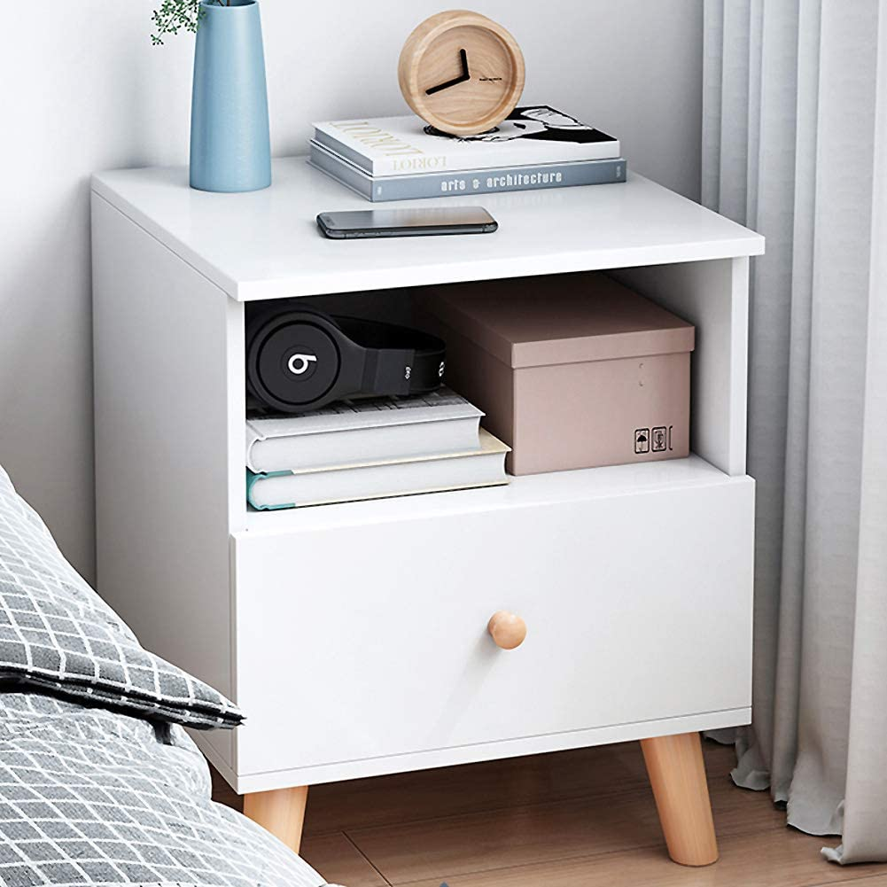 XM&LZ Modern Nightstand with Drawers,Wood Assemble Side Table Bedside Shelf with Storage Wood Legs,Bedroom Furniture Home Office End Table White 1 Drawer