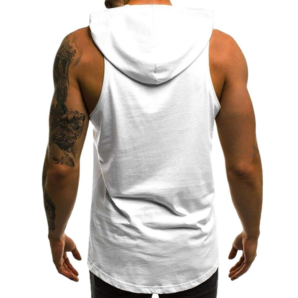 MmNote Polyester All-Over Graphics Muscle Fitness Technology Lightweight Cool Quick Vest Mens Gym Hoodie Workout Tank Top
