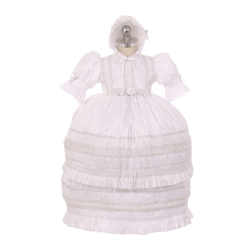 RainKids Baby Girls White Shantung Trim Ruffle 3 Pc Bonnet Baptism Gown 6-9M