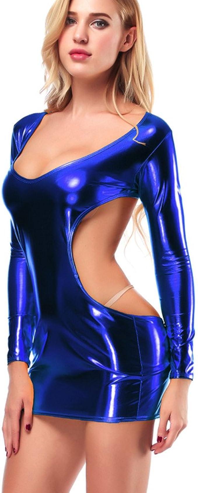 MAYOGO Mujer Body Vestido Mangas Larga Cuero Lentejuela Brillante ...