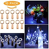 KFSO Solar Powered Wine Bottle Lights with Cork,6/10 pcs Battery Operated LED Cork Shape Copper Wire Colorful Fairy Mini Lights for DIY,Party,Decor,Christmas,Halloween,Wedding (10pcs B)
