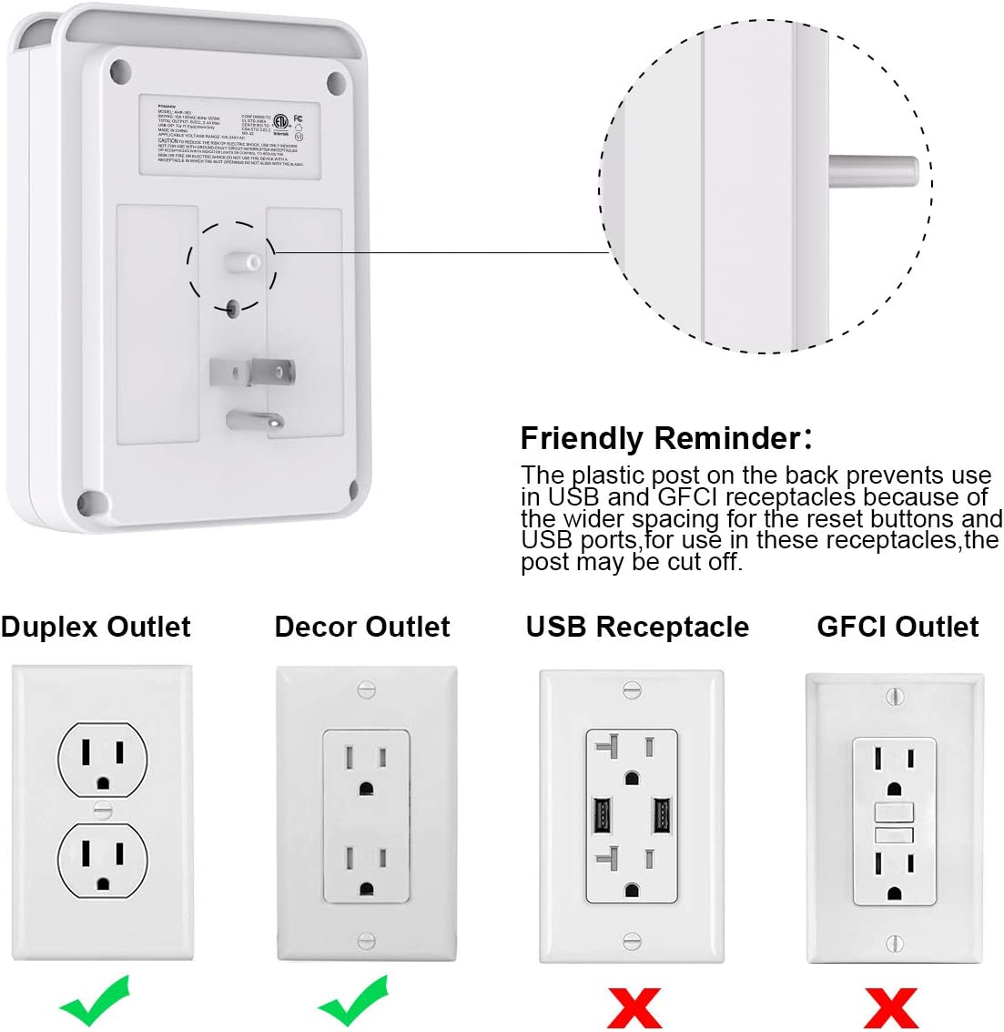 White Multi Plug Outlet 6-Outlet Extender and Top Phone Holder for Your Cell Phone POWSAV USB Wall Charger with 2 USB Ports ETL Listed Surge Protector