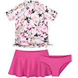 Skechers Little Girls Pink /& Blue Floral Two-Piece Rashguard Swimsuit Set 5