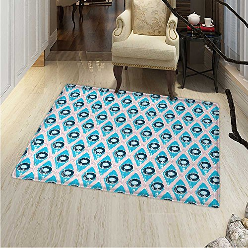 Abstract Print Area rug Brushstroke Diamond Grid with Circle Disc Shapes Grunge Hipster Art Perfect for any Room, Floor Carpet 48