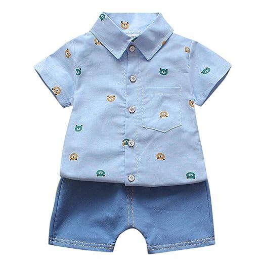 d5d8c086bc0b Amazon.com: Toddler Boy Girl Clothes Summer Outfits Set Baby Boys' Short  Sleeve Shirt Tops Short Pants Gentleman Set: Clothing