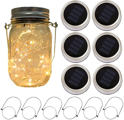 6-Pack Solar-powered Mason Jar Lights 6 Hanger Included No Jar ,10 LEDs Warm White Jar Hanging Light,Solar Fairy Firefly Lights Lids Insert Fit for Regular Mouth Jars for Decor Solar Table Light