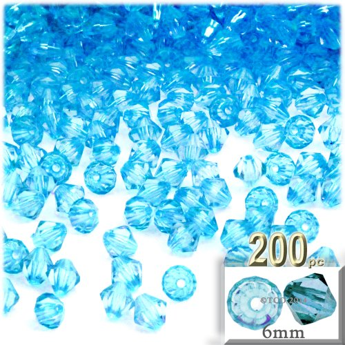(The Crafts Outlet, 200-pc Acrylic Bicone Beads, Faceted, 6mm, Light Aqua Blue)