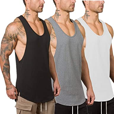 Muscle Killer 3 Pack Mens Muscle Cut Off Gym Workout Stringer Tank Tops Bodybuilding Fitness T-Shirts
