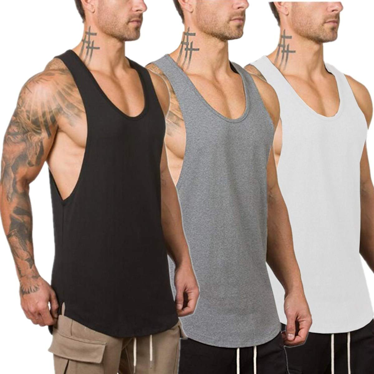 Muscle Killer 3-Pack Men's Muscle Gym Workout Stringer Tank Tops Bodybuilding Fitness T-Shirts (Medium, Black+Gray+White)