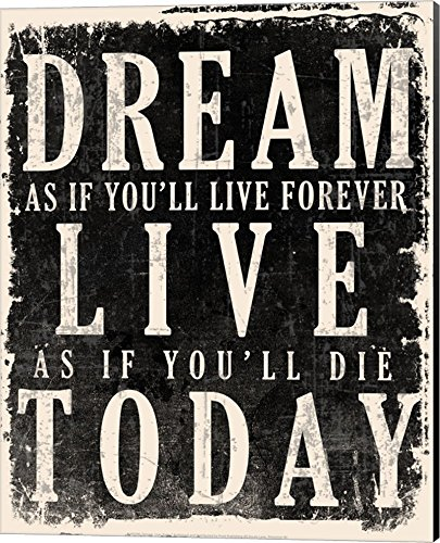 Dream, Live, Today - James Dean Quote Canvas Art Wall Picture