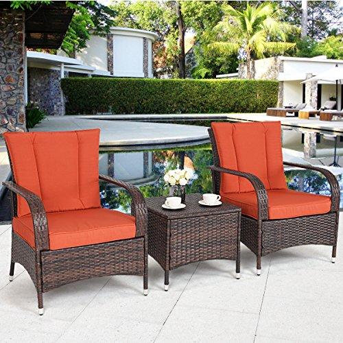 Aromdeeshopping Furniture Set Seat Cushioned Orange Outdoor Patio Mix Brown Rattan Wicker ()