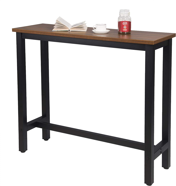 WOLTU BT17ws Tavolo da Bar Rettangolare Alto Tavolino per Cucina in Metallo Legno 120x40x100 cm