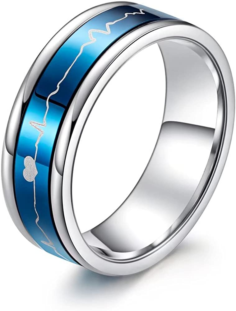 Romantic Matching Couple Rings Titanium Steel Wedding Bands Black Blue Comfort Fit Rotatable ECG HeartBeat His and Her Promise Special Gifts