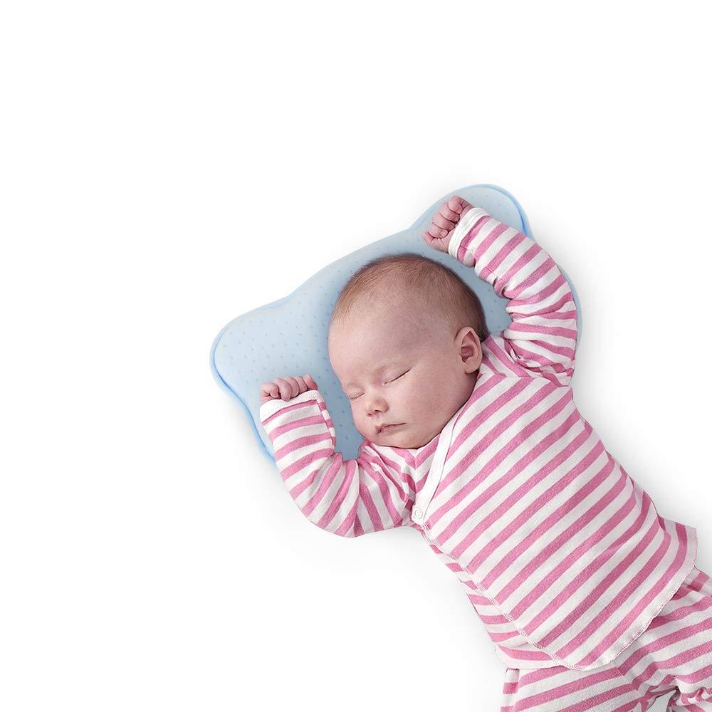 Newborn Baby Pillow Memory Foam Sleep Positioner for Preventing Flat Head Anti Roll-Blue