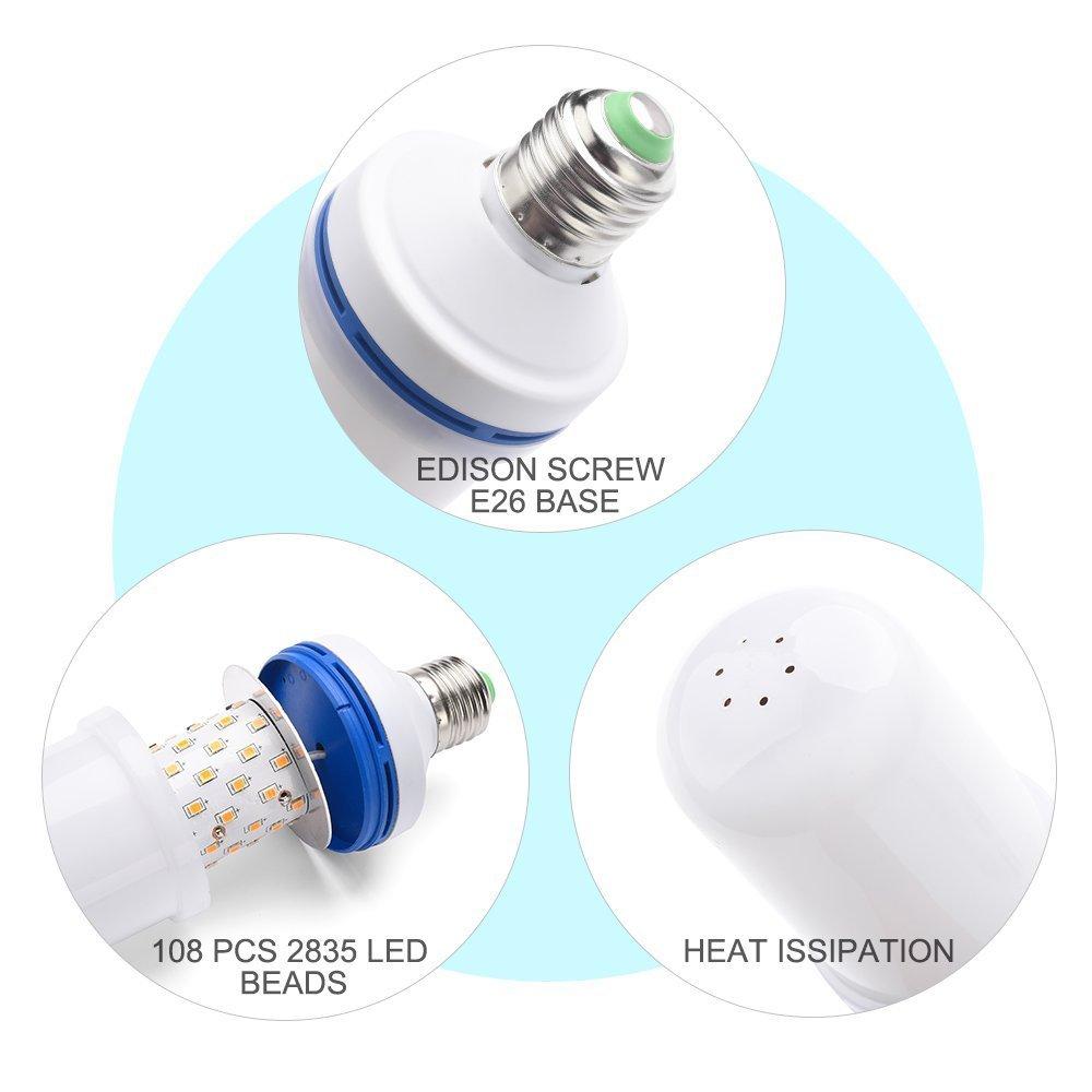 omicoo efecto de Llama LED foco de luz, e26 bombillas Llama parpadeante, 105pcs 2835 foco de luz LED Iluminación ambiente Art Deco Vintage Simulación Llamas ...