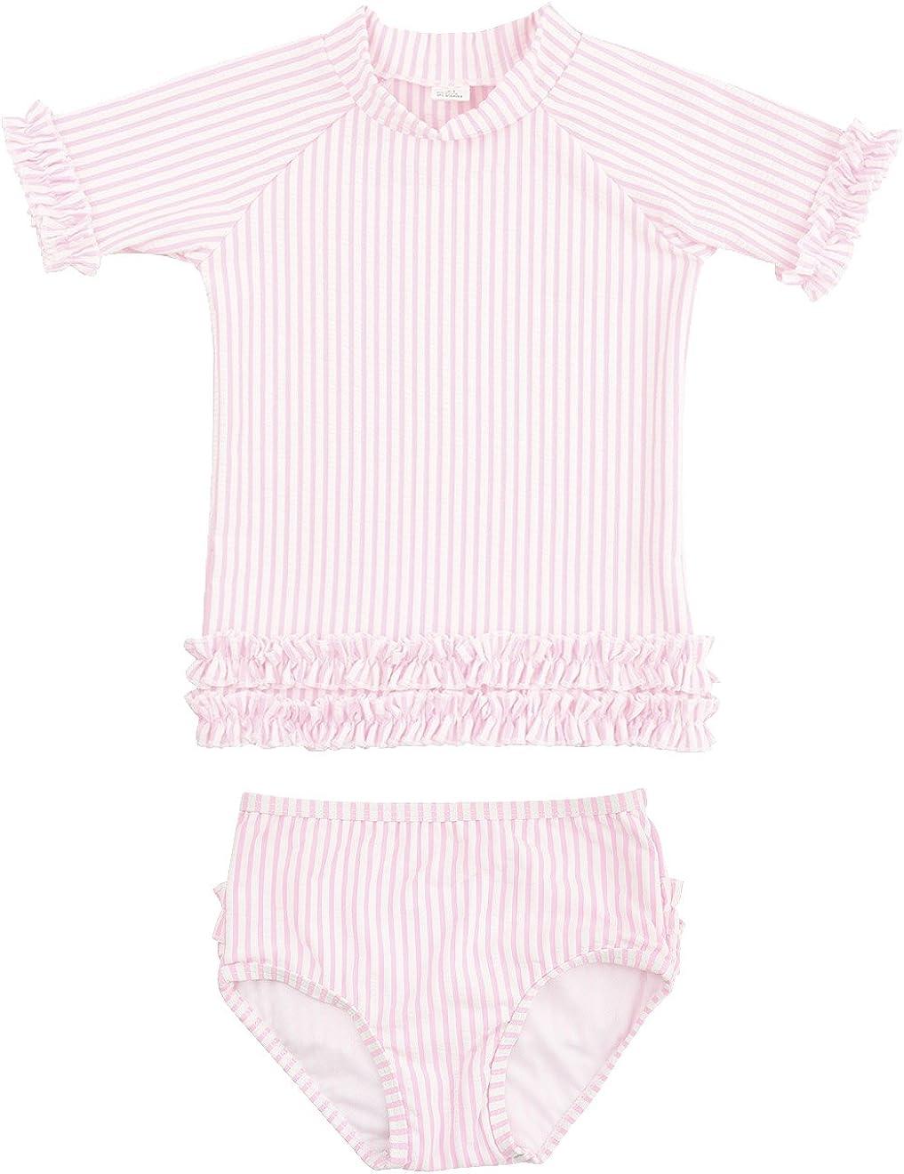 Sun Protection RuffleButts Baby//Toddler Girls Seersucker Rash Guard 2-Piece Short Sleeve Swimsuit Set with UPF 50