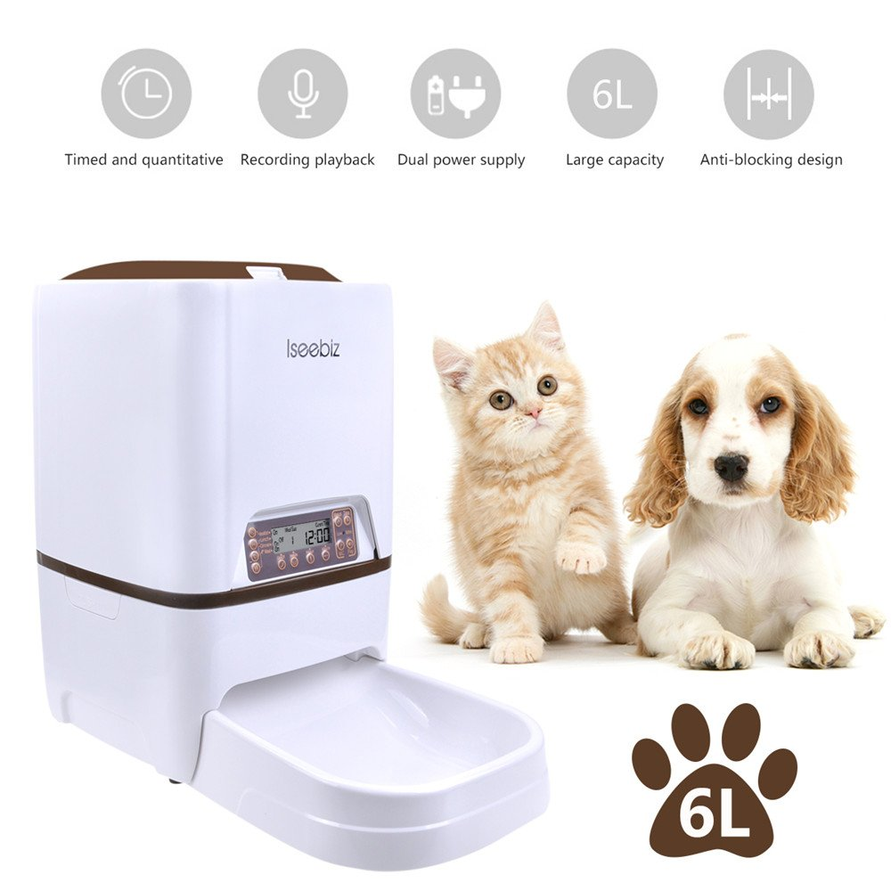 Iseebiz Automatic Dog Feeder 6 Liter Automatic Pet Feeder With Voice Recorder Food Dispenser 4 Meal Timer Programmable For Dog Cat Medium and Large Pet
