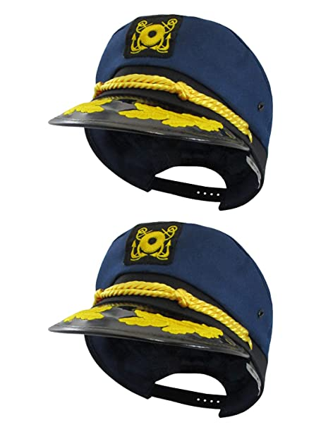 a91c4ff53c6 Amazon.com  Nicky Bigs Novelties Navy Skipper Sailor Ship Yacht Boat  Captain Hat Marines Admiral Blue Gold 2 Pack  Clothing