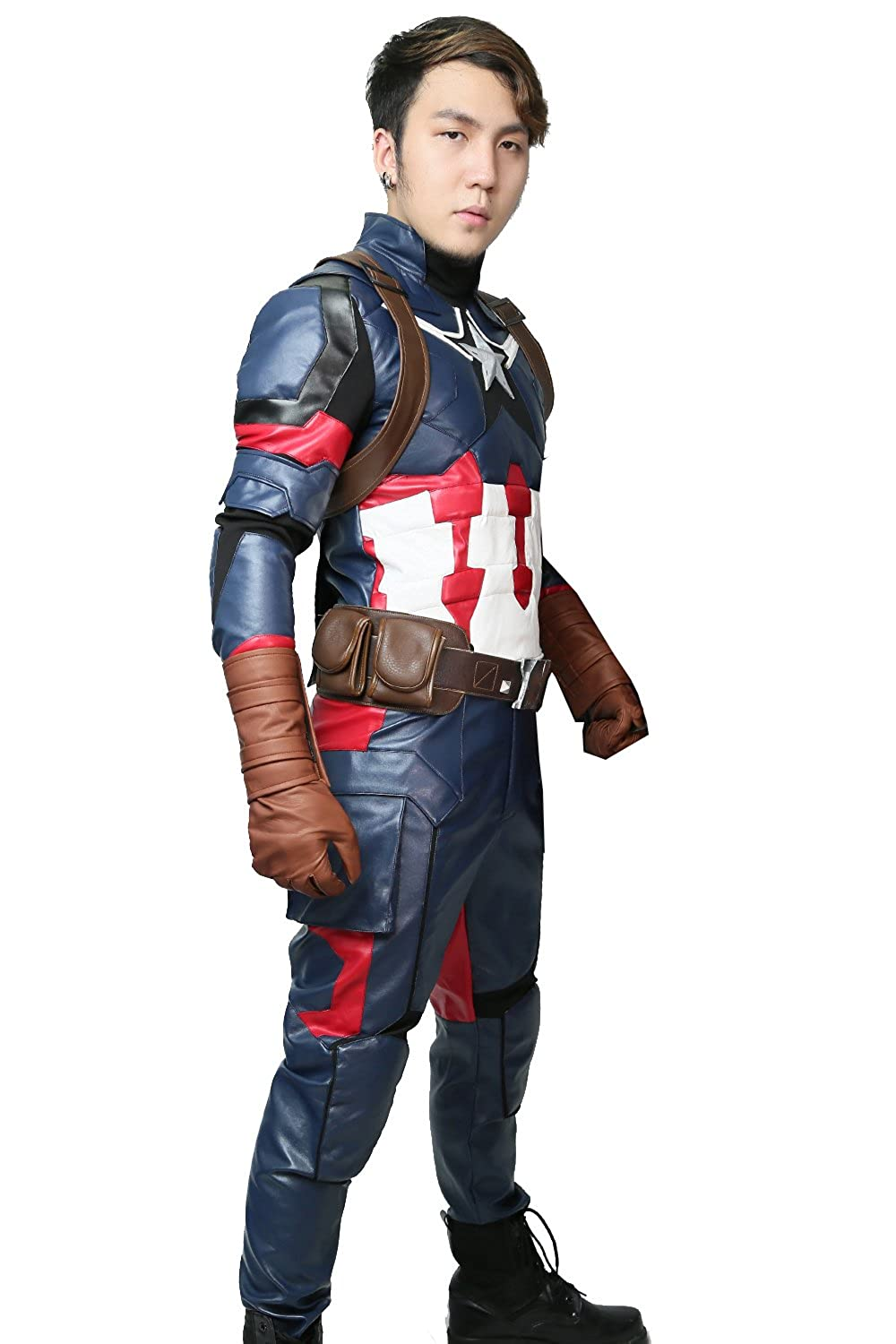 Captain America 3 Steve Rogers Cosplay Costume Deluxe Outfit Custom Free Fast