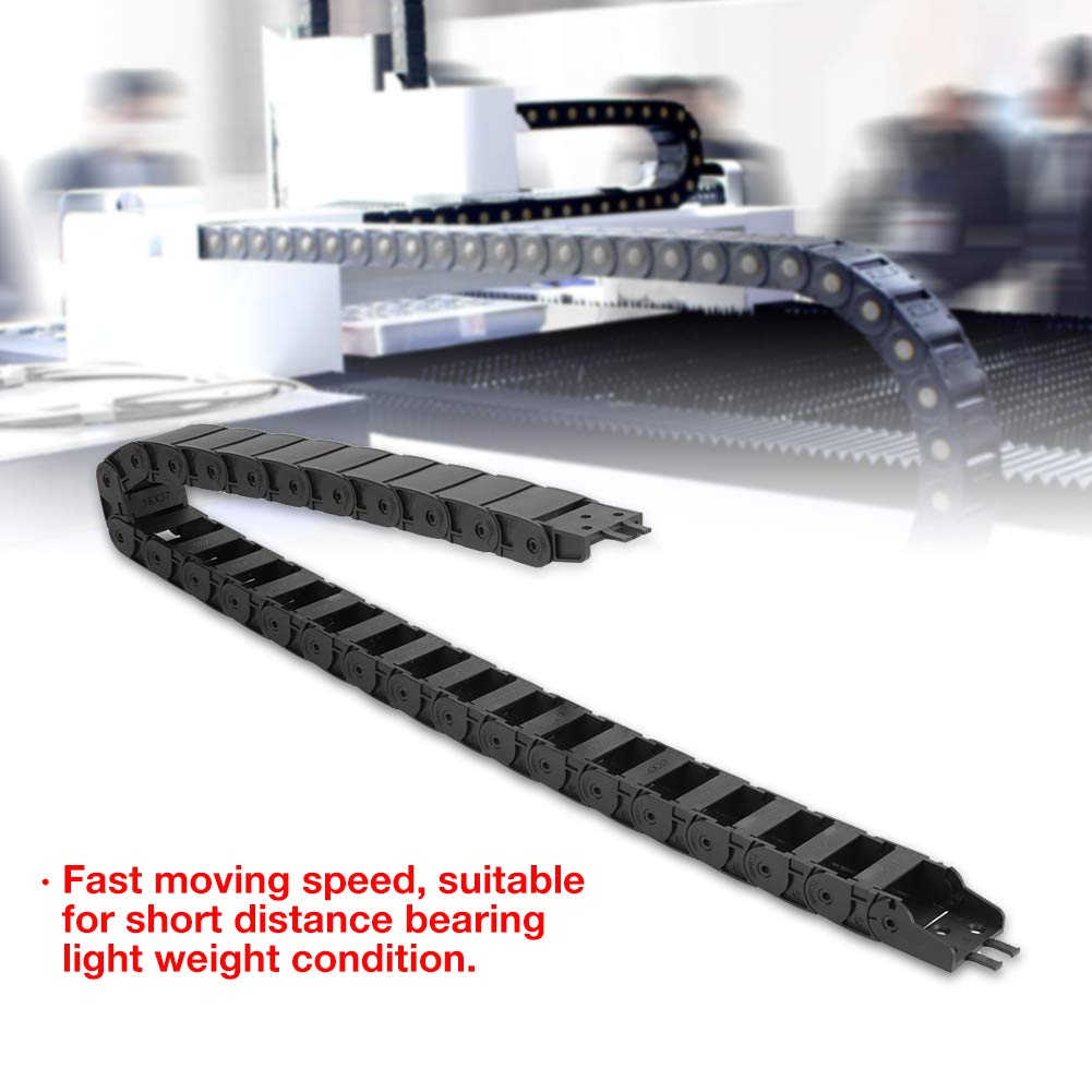 100cm 18 x 37mm Long Black Nylon Non-opening Cable Carrier Drag Chain CNC Engraving Machine Tools