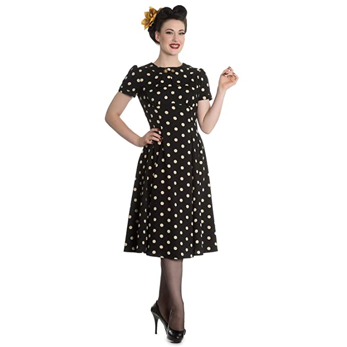 500 Vintage Style Dresses for Sale Hell Bunny Madden Black 1940s Wartime WW2 Polka Dot Retro Vintage Victory Dress £36.49 AT vintagedancer.com