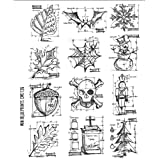 Stampers Anonymous Tim Holtz Cling Rubber Stamp Set, 7 by 8.5-Inch, Mini Blueprint