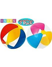 "Intex Paradise Beach Balls 24"" Bright Colors Gift Set Bundle - 2 Pack"
