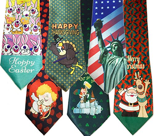 Stonehouse Collection Men's Assorted Holiday Ties - 6 Fun Neckties - Tie Assortment - Christmas, Thanksgiving, Valentines, St Patricks, Easter, 4th of July